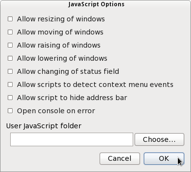 JavaScript options