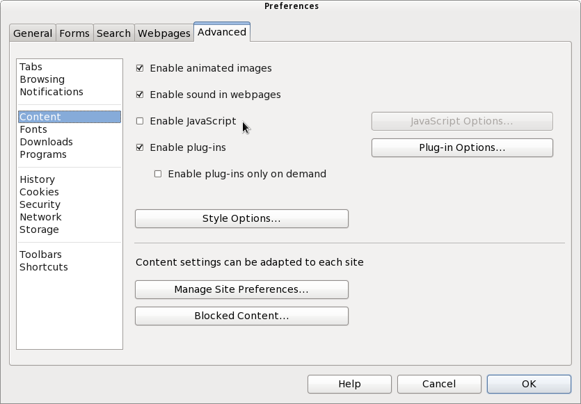 Preferences dialog, Advanced tab, Content section