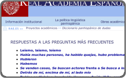 Screenshot parcial del FAQ de la RAE