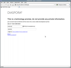 diaspora screenshot: the login page.