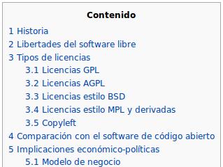 Tabla de Contenido generada automáticamente por Wikipedia para sus documentos. De forma similar, un navegador podría generar automáticamente la TdC según lo indiquen los elementos H1 a H6.